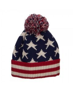 American Flag Pom Vintage Beanie