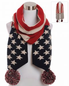 American Flag Pom Reversible Vintage Scarf