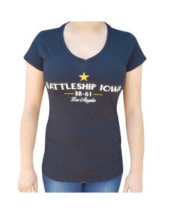 Ladies Battleship IOWA V-Neck T-Shirt
